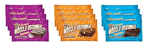 Lenny & Larry's Muscle Brownie Four of each Flavor, 2.82-Ounce Package, 12 Bars