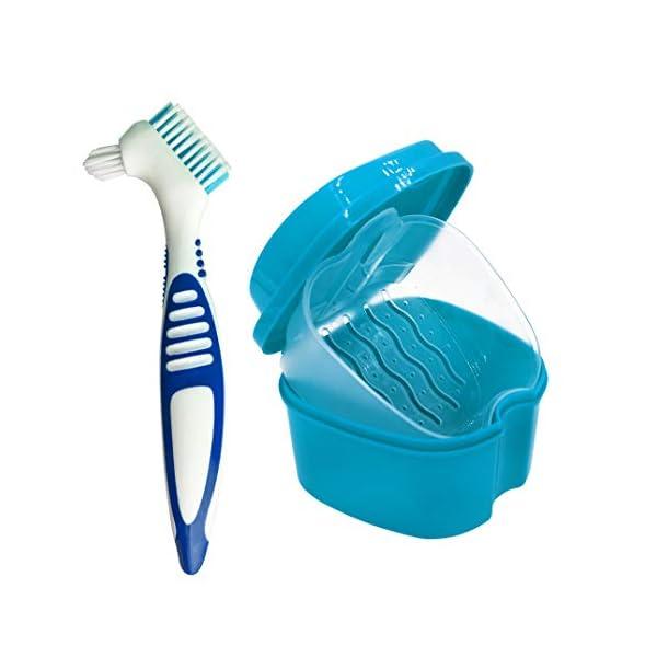 Estuche para Dentadura, Caja para Baño de Dentadura para Taza de Dentadura con Cepillo de Limpieza (Color Aleatorio), Baño para Dentadura para Limpieza de Retenedores (Azul) 2