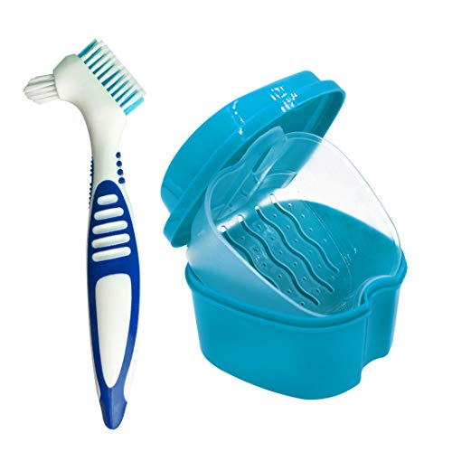 Denture Case, Denture Cup with Strainer Denture Bath Box with Cleaning Brush, Deture Bath for Retainer Cleaning (Blue)