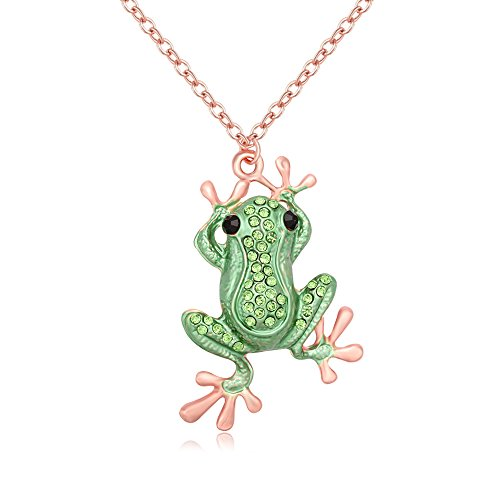 PANGRUI Personalized Green Crystal Frog Necklace Rhinestone Animal Pendant Multi-Functions Brooch Pin (Rose Gold)