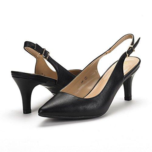 Paire De Rêve Femmes Lop Bas Talon Pompe Chaussures Noir Pu
