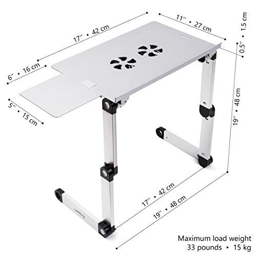 Lavolta Tavolino Pieghevole.Lavolta Supporto Tavolino Pieghevole Per Notebook Pc Portatile Con Piattaforma Per Mouse E Sistema Di Raffreddamento 2x Ventole Alluminio