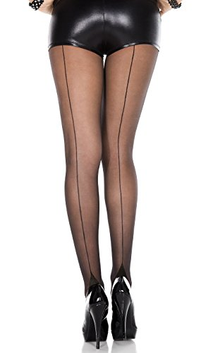 Pin Up Stockings (Music Legs Womens Vintage Style Cuban Heel Pantyhose (Black/Black))