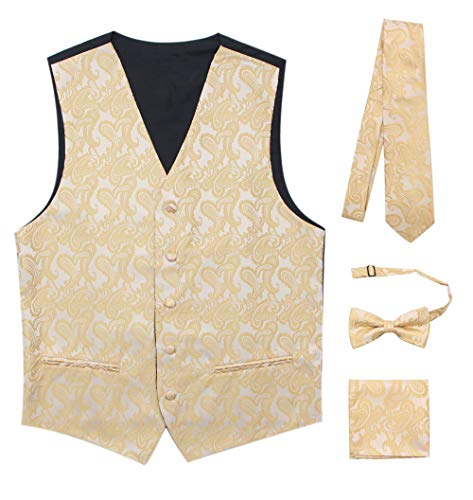 JAIFEI Premium Men's 4-Piece Paisley Vest for Sleek Looks On Formal Occasions (S, Champagne) ()
