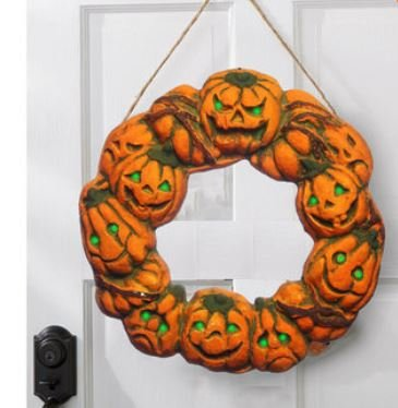Halloween Spooky Wreath LED Lantern LED Pumpkin Light Door Hanger Home Decor by ShopIdea]()