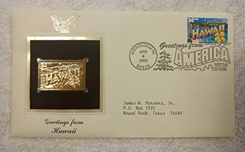 Greetings from Hawaii - FDC & 22kt Gold Replica Stamp plus Info Card - Greetings from America Series (Postcard Theme) - Postal Commemorative Society, 2002 - Waikiki Beach, Diamond Head, the Yellow Hibiscus