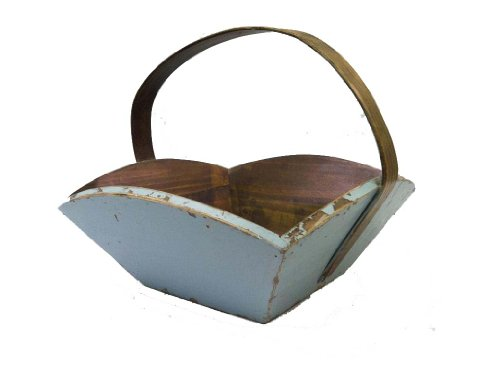Antique Revival Wooden Fruit Tray with Handle, Aqua Finish from Antique Revival
