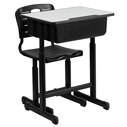 (Flash Furniture Adjustable Height Student Desk and Chair with Black Pedestal Frame)
