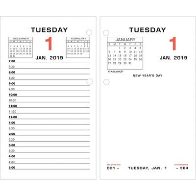 at-A-GLANCEamp;reg; Two-Color Daily Desk Calendar Refill with Monthly Tabs, 3-1/2w x 6h