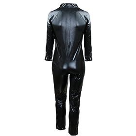 - 419ol rqrxL - iEFiEL Men Women Wet Look PVC Leather Long Sleeves Catsuit Bodysuits