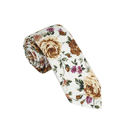 Dan Smith C.C.N.D.044 Brown White Green Purple Floral Cotton Collection Slim Tie ()