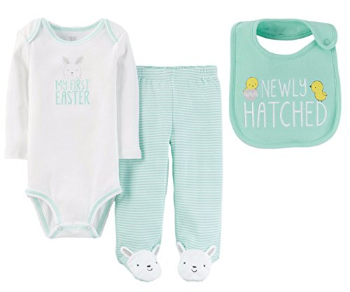 Just One You by Carters Baby Boys or Girls My First Easter Bodysuit Pants Set with Bib (9 Months, Mint Green and White - My First Easter)
