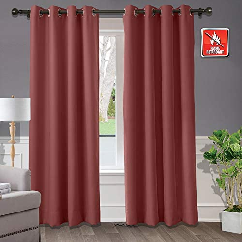Macochico Extra Wide Blackout Flame Retardant Curtains and Drape
