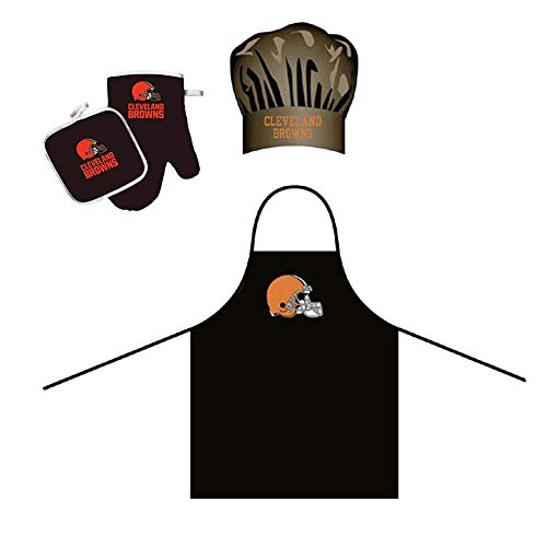 Pro Specialties Group Cleveland Browns NFL Barbeque Apron, Chef's Hat and Pot Holder Deluxe Set