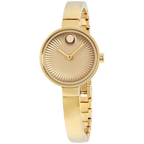 [Movado Womens Swiss Edge Gold-Tone Stainless Steel Bangle Bracelet Watch 3680021] (Movado Bangle Watch)