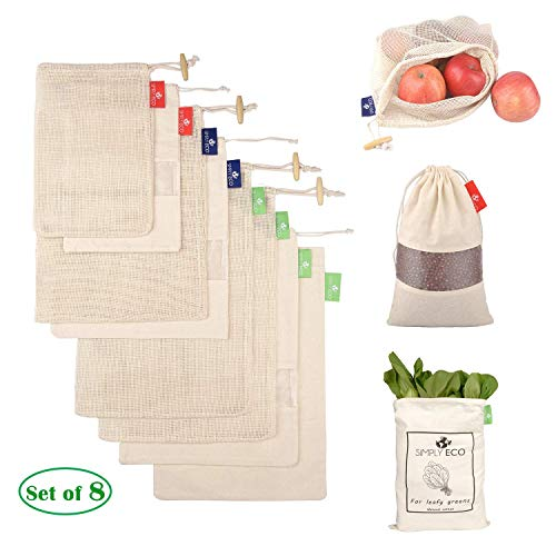 SIMPLY ECO 8 cotton reusable produce bags with drawstring. Mesh green bags for fruits and veggies, muslin bags with see through window for bulk food storage (S, M, L). Bag for leafy greens and lettuce