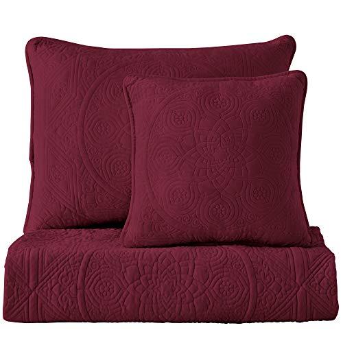 Maison Atlas Velvet Sham, Charlotte Premium Velvet Collection, Cotton Batting, Standard, Burgundy ()