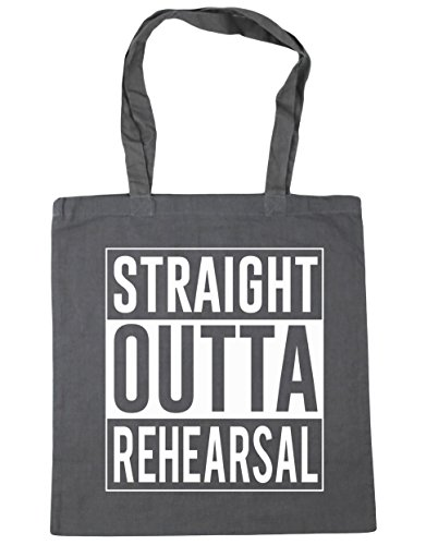 HippoWarehouse Straight Outta Rehearsal Tote Shopping Gym Beach Bag 42cm x38cm, 10 litres Graphite Grey