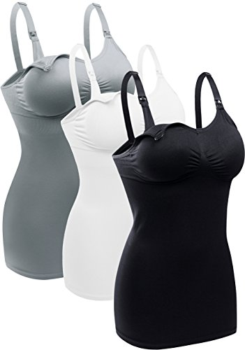 Bralido Women's Nursing Tank Camis With Built-In Maternity Bra For Breastfeeding Pack Of 3 Color Black White Grey Size 2XL
