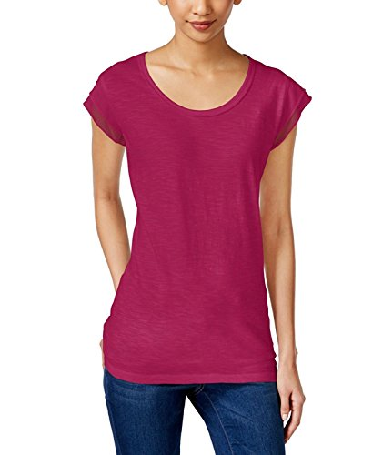 (Style & Co. Cap-Sleeve Scoop-Neck Top (Magenta Punch/Med Purple, Large))