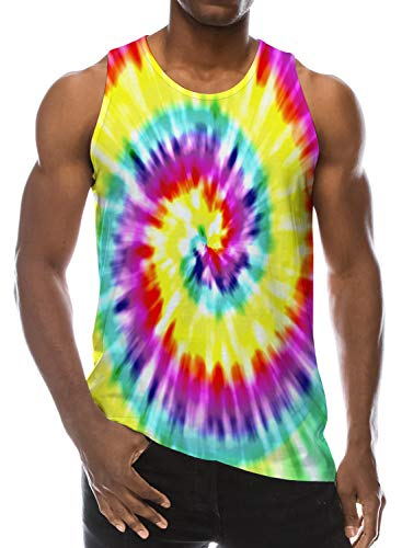 Loveternal Mens Tee Tanks Colorful Novelty Printed Graphic Tank Tops Trippy Tees Sleeveless T-Shirt Crew Neck Workout Tie Dye Shirt DJ Workout Tanks S