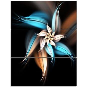 Designart Blue Brown Fractal Flower-Large Floral Canvas Art Print-28X36 3 Piece, 28'' Hx36'' Wx1'' D 3P
