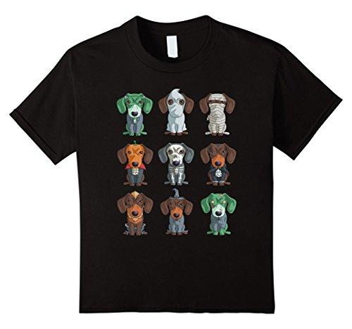 Kids Dachshund Halloween T-Shirt Funny Weiner Gift Shirt 12 Black