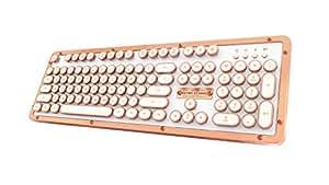 Azio Retro Classic Bluetooth Posh - Luxury Vintage Backlit Mechanical Keyboard, White/Copper (MK-RETRO-L-BT-02-US)