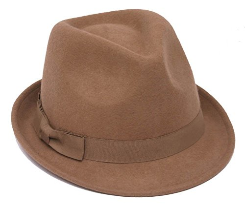 Winter Wool Trilby Fedora Hat - Tan