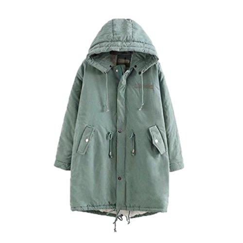 NiSeng Damen Steppmantel Winter Warme Outwear Mantel Pelzkragen Mit Kapuze  Langarm Wintermantel Winterjacke Parka Hell Grün