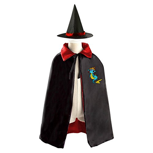 DIY Cartoon Dragon sad Costumes Party Dress Up Cape Reversible with Wizard Witch Hat