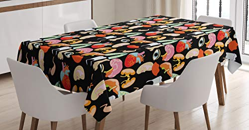 Ambesonne Anatomy Tablecloth, Human Organs with Heart Eye Nose Lungs Liver Ears Mouth Brain Lips Humor Design, Dining Room Kitchen Rectangular Table Cover, 60 W X 84 L Inches, Multicolor ()