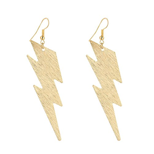 IDB Productions IDB Delicate Filigree Dangle Lightning Bolt Drop Hook Earrings - available in silver and gold tones (Gold tone) -