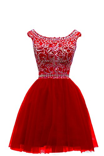ZAHY Women's Beaded Tulle Scoop Neckline A Line Mini Party Dresses Red 16
