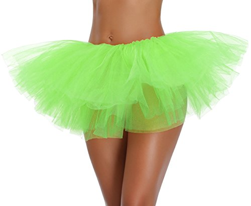 Women's, Teen, Adult Classic Elastic 3, 4, 5 Layered Tulle Tutu Skirt (One Size, Green 5Layer)]()