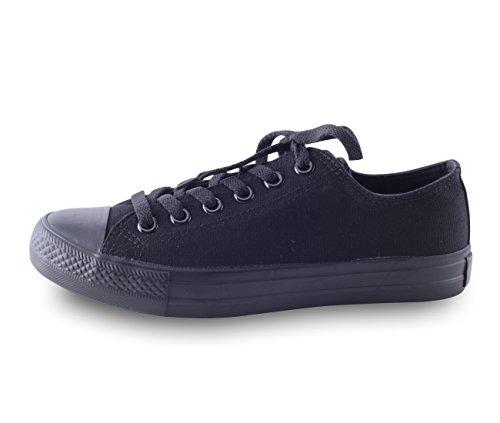 Damen Herren Unisex Canvas Leinwand Sneaker Basic Low Schnürschuh in verschiedenen Farben Größe 36-46, Schuhgröße:38;Farbe:All Black