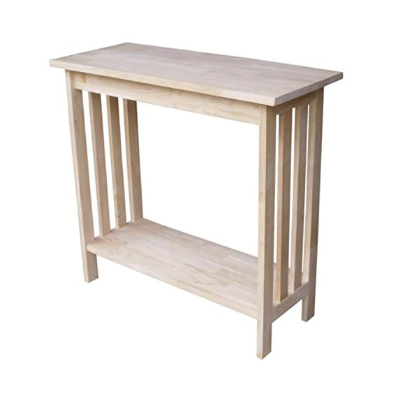 """International Concepts Mission Entry Table, Unfinished - Dimensions: 31.9""""W x 13.2""""D x 30""""H Made from solid hardwood with a butcher block surface Ready to assemble - living-room-furniture, living-room, console-tables - 419oog8RrQL. SS570  -"""