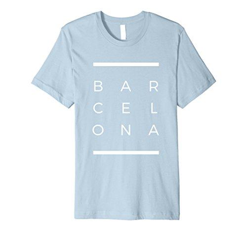 Mens Barcelona Matrix T-Shirt - Spain - Premium Medium Baby Blue - Barcelona Graphic T-shirt