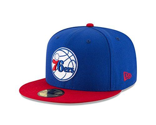 2 Mens New Era Hat - NBA Philadelphia 76ers Men's 2-Tone 59FIFTY Fitted Cap, 7.25, Royal