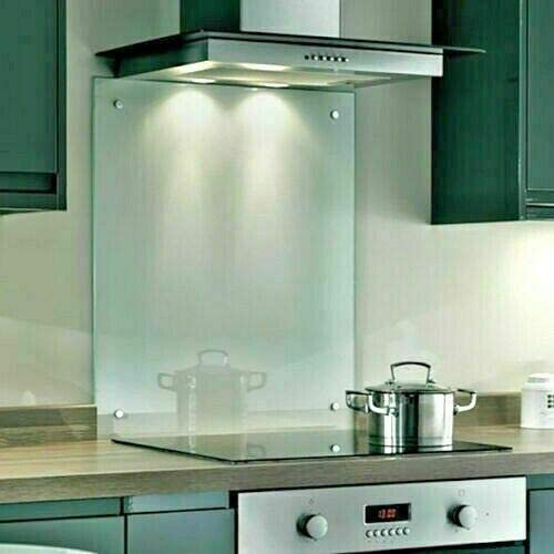 Clear Toughened Heat Resistant Glass Splashback Available in Various Sizes (Clear, 6060C)