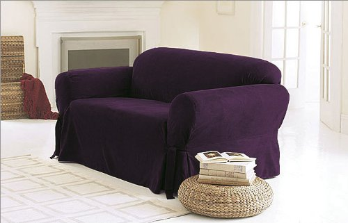 Green Living Group Chezmoi Collection Soft Micro Suede Solid Couch/Sofa Cover Slipcover with Elastic Band Under Seat Cushion, Purple ()
