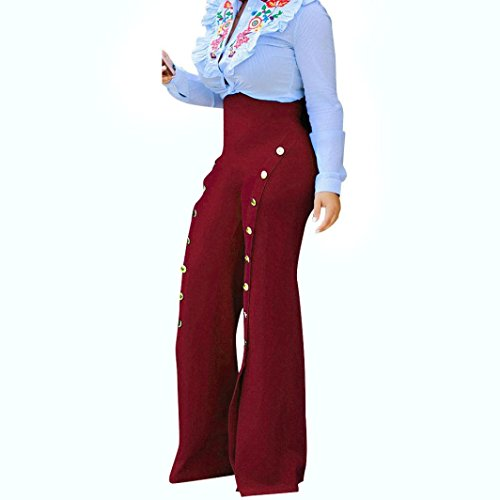 Mamum - Grande taille pantalon palazzo jambe large - Pantalons - Femmes (M, bleu) rouge