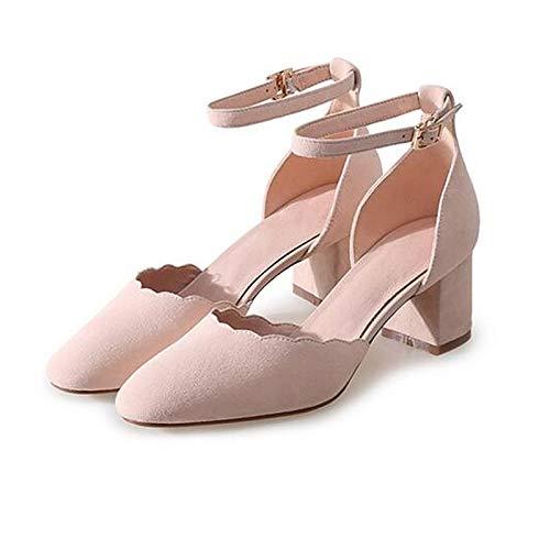 Black Heels Gray Suede Heel Women's Pink Comfort Chunky Black Spring ZHZNVX Shoes qfO8xwXSz