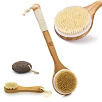 MH ZONE Dry Brushing Body Brush with Long Bamboo Handle and Face Cleansing Brush With Natural Boar Bristles,Free Gift Pumice Stone, Perfect Christmas Gifts