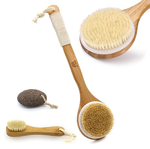 M MH ZONE Dry Brushing Body Brush with Long Bamboo Handle and Face Cleansing Brush With Natural Boar Bristles,Free Gift Pumice Stone