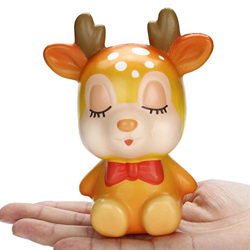Wffo Slow Rising Squishy Toy, Squishies Kawaii Christmas Deer Slow Rising Cream Scented Stress Relief Toys (Yellow)