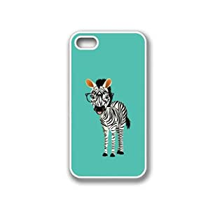 Hipster Cartoon Zebra White iPhone 4 Case - Fits iPhone 4 & iPhone 4S