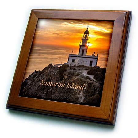 3dRose Lens Art by Florene - Nautical Décor II - Image of Sunset On Lighthouse in Santorini Island Greece - 8x8 Framed Tile (ft_317578_1)