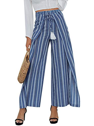 (Simplee Women's Casual Loose Wide Leg Pants High Waisted Striped Palazzo Pants Blue 8)