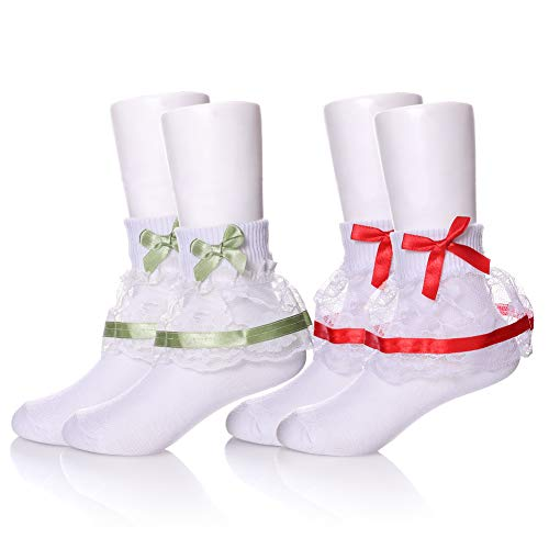 YEBING Girls Ruffle Lack Socks 2 Pair Pretty Girls Princess Dress Socks with Lace and Ribbon (1-3 Year Old, 2 Pack Bow Green & Red)